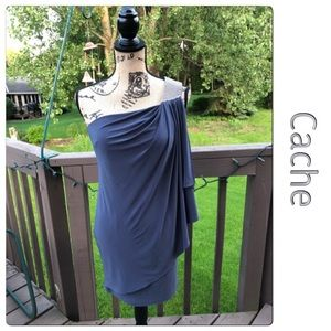 Cache One Shoulder Gray Dress with Rhinestones